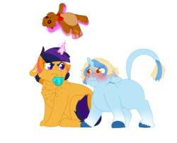 Size: 2100x1700 | Tagged: artist:mintbubbie, baby, baby pony, blank flank, chest fluff, classical unicorn, cloven hooves, colt, duo, floppy ears, leonine tail, levitation, magic, male, oc, oc:blue moon, oc:evening star, offspring, pacifier, parent:prince blueblood, parents:bluetrix, parents:twiburst, parent:sunburst, parent:trixie, parent:twilight sparkle, pony, red face, safe, simple background, teddy bear, telekinesis, transparent background, unicorn, unshorn fetlocks