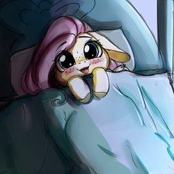 Size: 4000x4000 | Tagged: safe, artist:miokomata, fluttershy, pony, bed, blushing, cute, daaaaaaaaaaaw, female, floppy ears, freckles, hnnng, overhead view, precious, shyabetes, smol, solo, sweet dreams fuel, weapons-grade cute