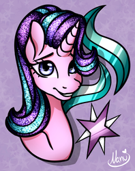 Size: 606x766 | Tagged: artist:jiyuumare, artist:jiyu_umare, bust, cutie mark, cutie mark background, female, mare, pony, portrait, safe, signature, smiling, solo, starlight glimmer, unicorn