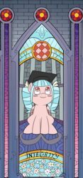 Size: 769x1639 | Tagged: alternate hairstyle, artist:hardwaybet, blushing, blush sticker, cozy glow, integrity, looking up, mirror universe, mortarboard, pigtails, safe, smiling, stained glass window, window
