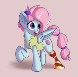 Size: 2540x2524 | Tagged: amputee, artist:qbellas, clothes, female, happy, kerfuffle, mare, open mouth, pegasus, pincushion, pony, prosthetic limb, prosthetics, rainbow roadtrip, raised leg, safe, simple background, solo, spoiler:rainbow roadtrip, vest