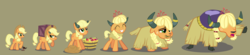 Size: 3731x815 | Tagged: safe, artist:magerblutooth, applejack, earth pony, pony, yak, series:mlp transformed, apple, applejack's hat, appleyak, blanket, braid, bucket, carrying, chewing, commission, cowboy hat, crate, doll, eating, eyes closed, faded cutie mark, food, grass, grin, hair blowing, hair over eyes, hat, horn jewelry, horn ring, horns, jewelry, lidded eyes, mental shift, open mouth, personality change, raised hoof, raised leg, scrunchy face, show accurate, simple background, smiling, species swap, story included, tiara, toy, transformation, transformation sequence, vector, yakified
