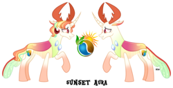 Size: 3907x1990 | Tagged: safe, artist:starling-sentry-yt, oc, oc:sunset aura, changepony, hybrid, male, offspring, parent:princess celestia, parent:thorax, parents:thoralestia, simple background, solo, transparent background