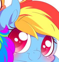 Size: 722x757 | Tagged: artist:tamabel, blushing, chibi, close-up, colored pupils, cute, dashabetes, eyebrows visible through hair, face, female, looking at you, mare, pegasus, pony, preview, rainbow dash, safe, simple background, smiling, solo, :t, white background