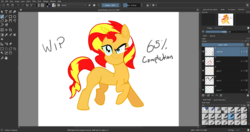 Size: 1920x1017 | Tagged: artist:n3ro 182, colored, horn, krita, pony, safe, solo, sunset shimmer, wip