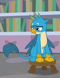 Size: 382x490 | Tagged: safe, screencap, gallus, griffon, a horse shoe-in, bookshelf, chest fluff, claws, cropped, folded wings, looking down, male, paws, sad, solo, talons, teenager, wings