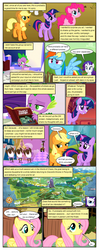 Size: 612x1553 | Tagged: ..., applejack, artist:newbiespud, buffalo, card, comic, comic:friendship is dragons, dancing, dialogue, discord, draconequus, earth pony, edit, edited screencap, eyes closed, female, fluttershy, freckles, grin, hat, looking up, male, mane seven, mane six, mare, pegasus, pinkie pie, pony, rainbow dash, rarity, reading, safe, screencap, screencap comic, sitting, slit eyes, smiling, spike, the return of harmony, throne, twilight sparkle, unicorn, unicorn twilight, worried