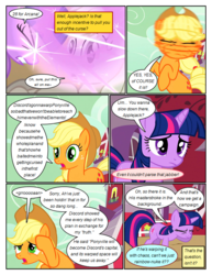 Size: 612x792 | Tagged: safe, artist:newbiespud, edit, edited screencap, screencap, applejack, twilight sparkle, earth pony, pony, unicorn, comic:friendship is dragons, the return of harmony, barn, comic, dialogue, discorded, eyes closed, female, freckles, frown, glowing horn, hat, head shake, horn, implied discord, implied rainbow dash, liarjack, mare, raised hoof, rearing, screencap comic, unicorn twilight