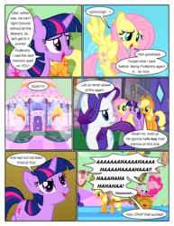 Size: 612x792 | Tagged: apple, applejack, artist:newbiespud, comic, comic:friendship is dragons, dialogue, edit, edited screencap, eyes closed, fluttershy, flying, food, freckles, glow, harness, hat, laughing, looking back, looking up, pinkie pie, pony, rarity, safe, screencap, screencap comic, sigh, smiling, tack, the return of harmony, twilight sparkle, unicorn, unicorn twilight, wagon