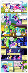 Size: 612x1553 | Tagged: safe, artist:newbiespud, edit, edited screencap, screencap, applejack, discord, fluttershy, nightmare moon, pinkie pie, rainbow dash, rarity, spike, twilight sparkle, alicorn, draconequus, dragon, earth pony, pegasus, pony, unicorn, comic:friendship is dragons, friendship is magic, keep calm and flutter on, the return of harmony, angry, apple, big crown thingy, comic, dialogue, ethereal mane, female, food, frown, glare, grin, hoof shoes, jewelry, looking up, male, mane seven, mane six, mare, plate, raised hoof, regalia, screencap comic, slit eyes, smiling, starry mane, unicorn twilight