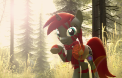 Size: 5593x3570 | Tagged: 3d, artist:bwablack, clothes, forest, gmod, hybrid, lens flare, looking at you, oc, oc only, oc:pony black, photoshop, pony, safe, scarf, solo, tree, unicorn, zony
