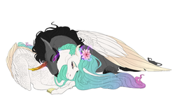 Size: 1280x800 | Tagged: alicorn, artist:dementra369, celestibra, cloven hooves, couple, crystal horn, female, flower, flower in hair, horn, hug, king sombra, long hair, looking at each other, male, mare, neck nuzzle, pony, princess celestia, safe, shipping, simple background, smiling, stallion, straight, unicorn, white background