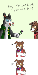 Size: 1280x2480 | Tagged: ..., artist:askcaptaindrog, artist:askwinonadog, ask winona, collaboration, comic, date, diamond dog, diamond dogified, duo, flower, oc, oc:captain drog, safe, species swap, winona