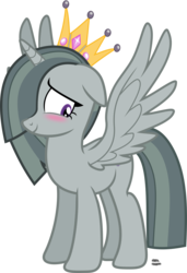 Size: 1145x1674 | Tagged: alicorn, alicornified, artist:anime-equestria, blushing, crown, cute, floppy ears, horn, jewelry, marblebetes, marblecorn, marble pie, race swap, regalia, royalty, safe, simple background, smiling, transparent background, vector, wings