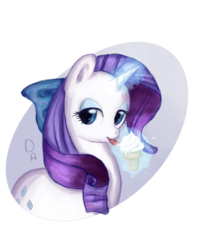 Size: 1747x2199 | Tagged: abstract background, artist:dashaalison, bow, cute, female, food, hair bow, ice cream, licking, lidded eyes, magic, mare, pony, raribetes, rarity, safe, solo, telekinesis, tongue out, unicorn