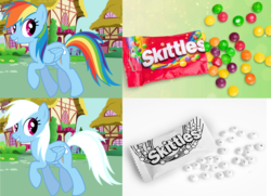 Size: 2312x1677 | Tagged: artist:anxet, candy, edit, food, looking back, rainbow dash, rainbow-less dash, safe, skittles, solo, trotting, white hair