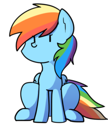 Size: 578x676 | Tagged: safe, artist:pillowsword, rainbow dash, pegasus, pony, beady eyes, cute, dashabetes, female, mare, simple background, sitting, solo, transparent background