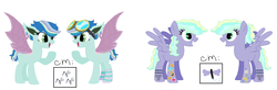 Size: 1528x504 | Tagged: amputee, artificial wings, artist:bruisesandbuttercups, artist:selenaede, augmented, base used, bat pony, bat pony oc, clothes, cyborg, ear piercing, earring, female, goggles, icey-verse, jewelry, magical lesbian spawn, mare, multicolored hair, oc, oc:flight fixer, oc only, oc:skye styles, offspring, open mouth, parent:indigo zap, parent:night glider, parents:indiglider, parent:sky stinger, parents:vaporsky, parent:vapor trail, pegasus, piercing, pony, prosthetic limb, prosthetics, prosthetic wing, raised hoof, safe, scar, simple background, socks, striped socks, tattoo, white background, wings