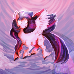 Size: 700x700 | Tagged: alicorn, artist:temary03, cloud, female, flying, glowing eyes, mare, pony, safe, sky, solo, twilight sparkle, twilight sparkle (alicorn)