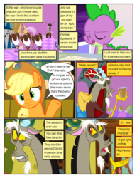 Size: 612x792 | Tagged: applejack, artist:newbiespud, ballerina, buffalo, card, chocolate, chocolate milk, comic, comic:friendship is dragons, dancing, dialogue, discord, draconequus, dragon, edit, edited screencap, eyed closed, female, frown, hat, male, mare, milk, pony, safe, screencap, screencap comic, sitting, spike, the return of harmony, throne