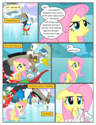 Size: 612x792   Tagged: safe, artist:newbiespud, edit, edited screencap, screencap, discord, fluttershy, draconequus, pegasus, pony, comic:friendship is dragons, keep calm and flutter on, ..., comic, dialogue, female, frown, ice skates, ice skating, male, mare, mouth hold, screencap comic, skating, unamused