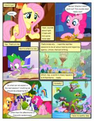 Size: 612x792 | Tagged: safe, artist:newbiespud, edit, edited screencap, screencap, applejack, fluttershy, pinkie pie, rainbow dash, rarity, spike, twilight sparkle, dragon, earth pony, pegasus, pony, unicorn, comic:friendship is dragons, the return of harmony, big crown thingy, chocolate, chocolate milk, cloud, comic, dialogue, element of generosity, element of kindness, element of laughter, element of loyalty, element of magic, female, flying, golden oaks library, jewelry, male, mane seven, mane six, mare, milk, regalia, screencap comic, slit eyes, unicorn twilight
