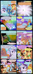 Size: 1000x2190 | Tagged: alien, armor, artist:christhes, bat pony, bat pony oc, collaboration, comic, comic:friendship is dragons, crossover, dialogue, dragon, eyes closed, fight, flag, flying, grin, implied applejack, implied fluttershy, implied pinkie pie, implied rarity, implied twilight sparkle, looking up, mouth hold, oc, oc:cloud raine, oc:drg-1, oc:pale moonlight, oc:sunrider, oc:wind whistler, pirate, pony, rainbow dash, raised hoof, rearing, robot, safe, slit eyes, smiling, space, spaceship, stars, star wars, weapon, wing hands, wing hold, wings