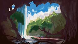 Size: 1920x1080 | Tagged: safe, artist:hierozaki, twilight sparkle, alicorn, pony, scenery, scenery porn, twilight sparkle (alicorn), wallpaper, waterfall