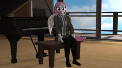 Size: 1920x1080 | Tagged: 3d, anthro, artist:sashagemini, blushing, clothes, female, kneesocks, looking at you, musical instrument, nexgen, oc, oc only, oc:sasha gemini, pegasus, piano, safe, socks, solo, source filmmaker, student, uniform