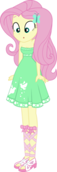 Size: 2288x6842 | Tagged: artist:marcorois, breasts, cleavage, edit, equestria girls, equestria girls series, fluttershy, legs, :o, open mouth, safe, solo, spoiler:eqg series (season 2), street chic, vector