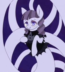 Size: 740x820 | Tagged: safe, artist:tilling-tan, inky rose, lamia, original species, snake pony, clothes, coils, eyeshadow, fangs, lamiafied, makeup, slit eyes, species swap