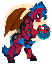 Size: 2640x3263 | Tagged: artist:arctic-fox, clothes, cosplay, costume, deadpool, earth pony, eye contact, female, holding, looking at each other, male, mare, moon, oc, oc:ash wing, oc:nimble wing, oc only, pegasus, pony, safe, shipping, simple background, size difference, spider-man, spread wings, stallion, wings