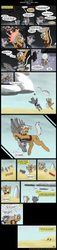 Size: 800x3489 | Tagged: ..., artist:digoraccoon, artist:winged cat, clothes, cloud, collaboration, comic, comic:friendship is dragons, desert, dialogue, earth pony, falling, frown, glasses, happy, laser, male, oc, oc:doc wagon, oc:gin gear, oc only, on a cloud, onomatopoeia, pegasus, pony, raised hoof, running, safe, smiling, spaceship, stallion, underhoof, walking