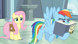 Size: 1600x900 | Tagged: safe, screencap, fluttershy, rainbow dash, pegasus, pony, daring doubt, spoiler:s09e21, book, daring do and the fallen idol, duo, duo female, female, flying, mare, pedestal, reading, saddle bag, squint