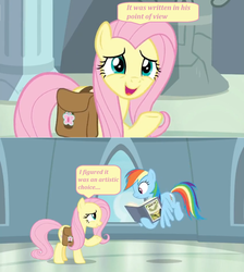Size: 1600x1782 | Tagged: book, comic, daring doubt, dialogue, duo, duo female, edit, edited screencap, female, fluttershy, flying, mare, nervous smile, pegasus, pony, rainbow dash, saddle bag, safe, screencap, screencap comic, speech bubble, spoiler:s09e21