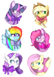 Size: 700x1000 | Tagged: applejack, artist:goldypirate, bow, bust, earth pony, female, fluttershy, grin, mane six, mare, one eye closed, open mouth, pegasus, pinkie pie, pony, rainbow dash, rarity, safe, simple background, smiling, twilight sparkle, unicorn, white background, wink