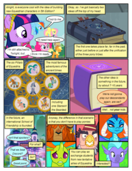 Size: 612x792 | Tagged: applejack, artist:newbiespud, big crown thingy, blind eye, blindfold, book, cape, changedling, changeling, classical hippogriff, cloak, clothes, comic, comic:friendship is dragons, dialogue, dragon, dragoness, earth pony, edited screencap, element of magic, eye scar, female, fez, flash magnus, fluttershy, frown, grampa gruff, griffon, hat, hippogriff, jewelry, king thorax, male, mare, mask, meadowbrook, mistmane, pegasus, pillars of equestria, pinkie pie, pony, prince rutherford, princess ember, rainbow dash, regalia, rockhoof, safe, scar, school daze, screencap, screencap comic, seaspray, shovel, smiling, somnambula, stallion, star swirl the bearded, thorax, twilight sparkle, unicorn, unicorn twilight, worried, yak