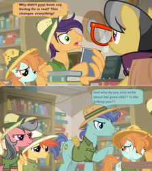 Size: 1600x1794 | Tagged: a.k. yearling, angry, book, bookshelf, clothes, comic, daring doubt, dialogue, edit, edited screencap, fake wings, fans, female, filly, glasses, hat, library, nerd rage, peach fuzz, pith helmet, safe, screencap, screencap comic, shelf, shirt, speech bubble, spoiler:s09e21, upset