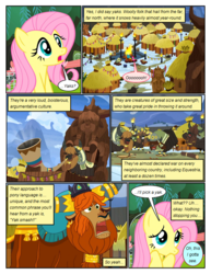 Size: 612x792 | Tagged: artist:newbiespud, best gift ever, comic, comic:friendship is dragons, dialogue, edited screencap, female, fluttershy, male, mare, open mouth, pegasus, pony, prince rutherford, safe, screencap, screencap comic, yak, yakyakistan