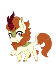 Size: 900x1200 | Tagged: artist:blurry-kun, autumn blaze, awwtumn blaze, chibi, cute, female, kirin, safe, simple background, smiling, solo, sounds of silence, transparent background