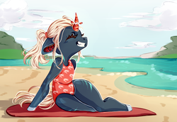 Size: 2500x1724 | Tagged: safe, artist:8fanged8, oc, anthro, anthro oc, beach, broken horn, clothes, cloud, female, floppy ears, horn, one-piece swimsuit, sky, smiling, swimsuit, towel, unicorn oc