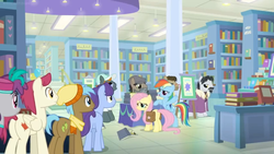 Size: 1600x900 | Tagged: safe, screencap, biff, neigh sayer, november rain, pinot noir, rogue (character), shiraz, silver berry, sugar maple, withers, earth pony, pegasus, pony, unicorn, daring doubt, spoiler:s09e21, background pony, book, bookshelf, bookstore, clothes, crowd, disguise, dr caballeron, fake beard, female, friendship student, george r.r. martin, glasses, groom q.q. martingale, henchmen, line-up, male, maple leaf, mare, robe, saddle bag, scarf, shelf, stallion, table, toque