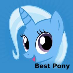 Size: 1024x1024 | Tagged: safe, trixie, pony, unicorn, derpibooru, best pony, female, mare, meta, solo, spoilered image joke