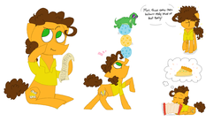 Size: 1950x1066 | Tagged: safe, artist:kirbyrainboom, part of a set, cheese sandwich, gummy, earth pony, pony, accordion, balancing, ball, cute, diacheeses, dialogue, food, frizzy hair, happy, list, ms paint, musical instrument, open mouth, pastry, ponies balancing stuff on their nose, quiche, signature, simple background, sitting, sleeping, static, text, thinking