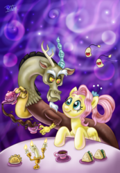 Size: 1721x2480 | Tagged: abstract background, artist:rubtox, candle holder, candlestick, cup, discord, draconequus, duo, eye contact, female, fluttershy, folded wings, food, ginseng teabags, looking at each other, mare, older fluttershy, pegasus, pony, safe, sandwich, smiling, spoiler:s09e26, table, teacup, tea party, teapot, the last problem, wings