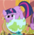 Size: 352x365 | Tagged: safe, screencap, spike, twilight sparkle, dragon, pony, unicorn, secret of my excess, behaving like a cat, cropped, cute, female, frown, glare, globe, golden oaks library, male, mare, prone, solo focus, twiabetes, unicorn twilight