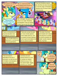 Size: 612x792 | Tagged: safe, artist:newbiespud, edit, edited screencap, screencap, applejack, auburn vision, berry blend, berry bliss, citrine spark, fire quacker, fluttershy, gallus, huckleberry, november rain, pinkie pie, rainbow dash, sandbar, slate sentiments, strawberry scoop, summer meadow, earth pony, griffon, pegasus, pony, comic:friendship is dragons, school daze, background pony, background pony audience, colt, comic, dialogue, female, filly, friendship student, frown, male, screencap comic, sitting, worried