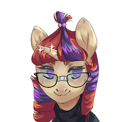 Size: 5000x5000 | Tagged: absurd res, artist:shininglovelystar, bust, cute, dancerbetes, female, glasses, mare, moondancer, no pupils, pony, portrait, safe, simple background, solo, unicorn, white background