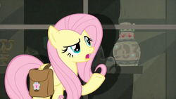 Size: 1600x900 | Tagged: daring doubt, female, fluttershy, mare, pegasus, pony, saddle bag, safe, screen, screencap, solo, spoiler:s09e21, vase