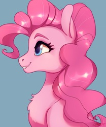 Size: 1500x1792 | Tagged: safe, artist:dumddeer, pinkie pie, earth pony, pony, blue background, bust, chest fluff, cute, diapinkes, female, mare, portrait, profile, simple background, smiling, solo